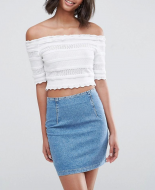 SL1023 Ex Chainstore White Crochet Crop Top x11