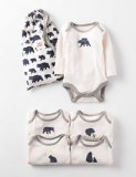 SC122 Ex Chainstore Bear Print Pack of 4 Bodysuits (x3)