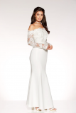 SL1161 Ex Chainstore White Bardot Long Sleeve Bridal Dress x12