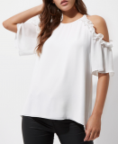 SL1200 Ex Chainstore White Frill Cold Shoulder Blouse x13