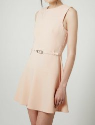 SL641 Ex UK Chainstore Beige Belted A Line Flippy Dress x14
