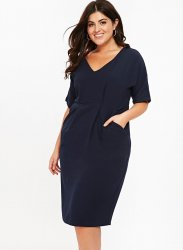 SL1167 Ex Chainstore Navy V Neck Short Sleeve Pocket Dress x13