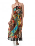 SL285 Ex UK Chainstore Floral Print Maxi Dress - Brown x10