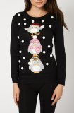SL842 Ex UK Chainstore Black 3D Penguin Christmas Jumper x12