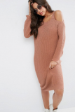 SL1083 Ex Chainstore Cold Shoulder Pink Knitted Midi Dress x10