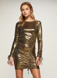 SL1263 Ex Chainstore Metallic Roxy Ruched Bodycon Dress x12