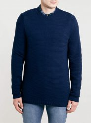 SM017 Ex UK Chainstore Horizontal Rib Jumper - Navy x8