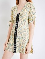 SL1162 Ex Chainstore Floral Print Hook And Eye Woven Dress x12
