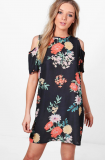 SL1169 Ex Chainstore Oriental Floral Cold Shoulder Dress x8