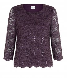 SL663 Ex UK Chainstore Purple Plum Lace Top x6