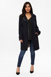 SL1296 Ex Chainstore Double Crepe Biker Coat - Black x12