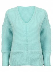 SL864 Ex UK Chainstore Oversized V Neck Fluffy Jumper S Blue x10