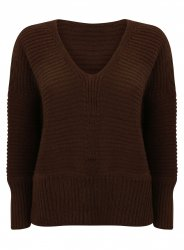 SL874 Ex Chainstore Oversized V Neck Fluffy Jumper Chocolate x10