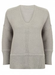 SL871 Ex UK Chainstore Oversized V Neck Fluffy Jumper Grey x12