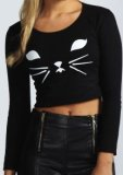 SL109 Ex UK Chainstore Long Sleeve Cat Crop Top - Black x12