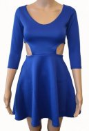 SL058 Ex UK Chainstore Blue Cut Out Side Skater Dress x7