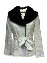 SL393 Ex UK Chainstore Threaded Fur Jacket - Cream x15