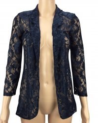 SL323 Ex UK Chainstore Floral Lace Blazer - Navy x12