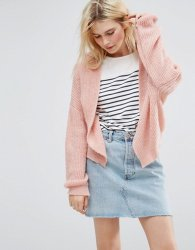 SL1072 Ex Chainstore Pale Pink Chunky Cardi In Fluffy Rib x16