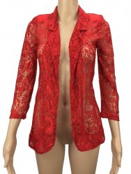 SL322 Ex UK Chainstore Floral Lace Blazer - Red x10