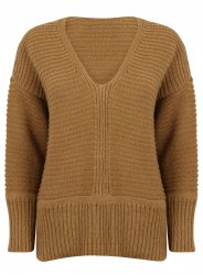 SL873 Ex UK Chainstore Oversized V Neck Fluffy Jumper Brown x12