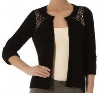 SL097 Ex UK Chainstore Studded Shoulder Cardi - Black x11