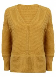 SL865 Ex UK Chainstore Oversized V Neck Fluffy Jumper Honey x11