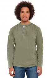 SM057 Ex Chainstore Pop Of Henley Khaki Acid Wash Top x12