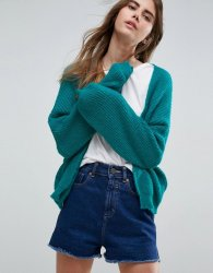 SL1077 Ex Chainstore Green Chunky Cardi In Fluffy Rib x9
