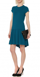 SL514 Ex UK Chainstore Drop Waist Jacquard Teal Dress x10