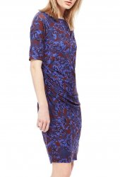 SL815 Ex UK Chainstore Blue Floral Scroll Wrap Dress x12