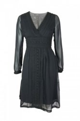 SL990 Ex UK Chainstore Embroidery Detail Tie Dress - Black x12