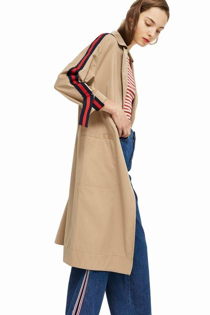 SL1177 Ex Chainstore Side Stripe Camel Trench Jacket Coat (x14)