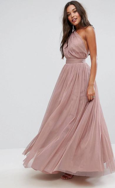 SL1232 Ex Chainstore Tulle One Shoulder Maxi Dress x12