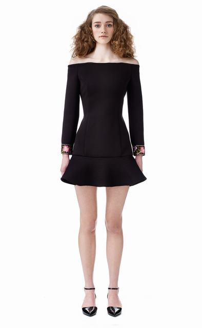 SL650 Ex UK Chainstore Adira Black Off Shoulder Scuba Dress x13