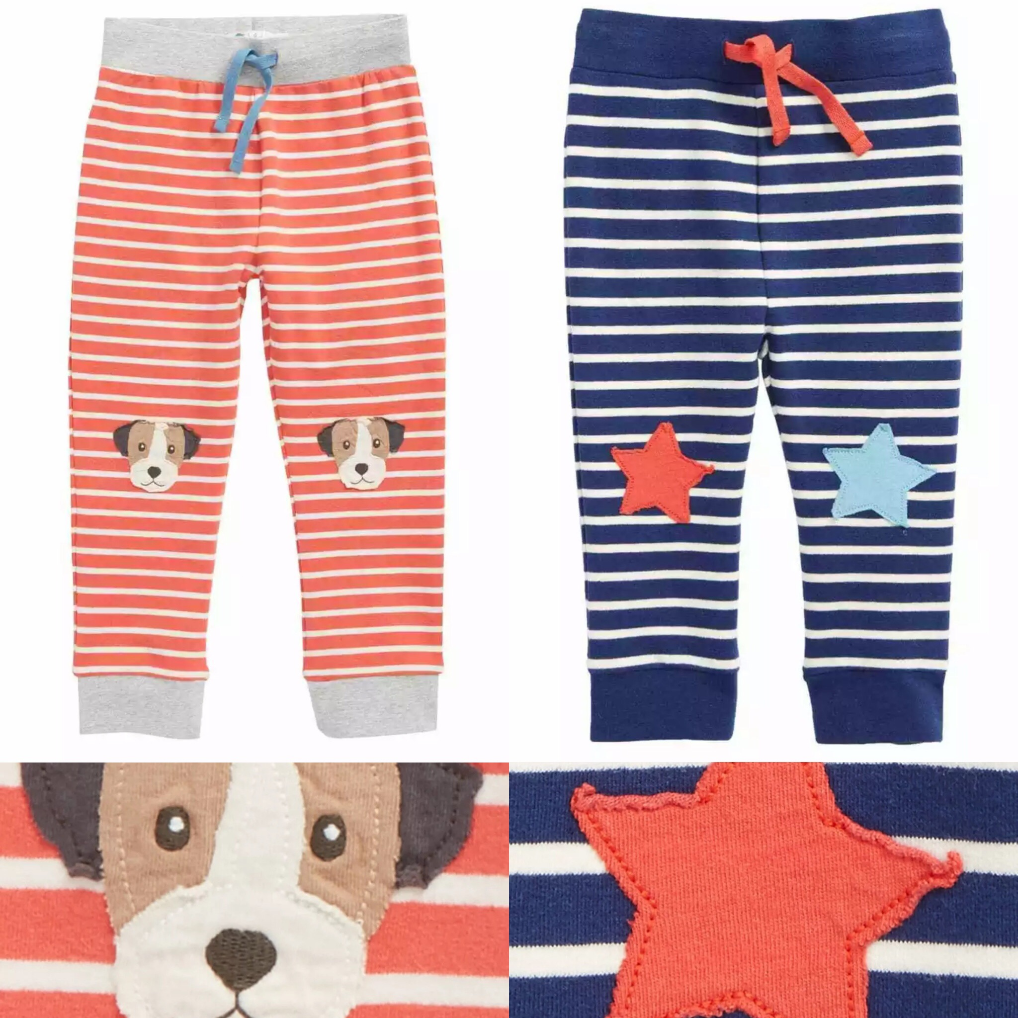SC227 Ex Chainstore Fun Knee Applique Stripe Pants x86