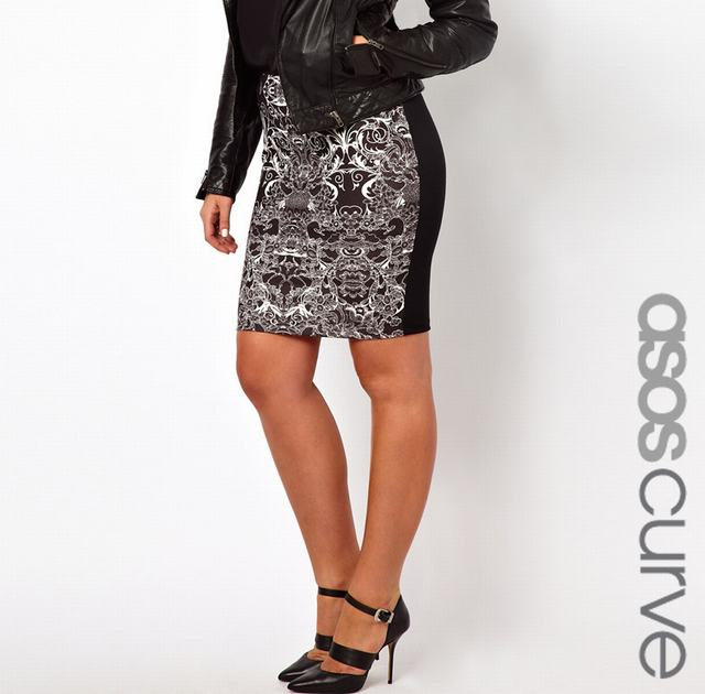 sl664 ex uk chainstore black pencil skirt in lace print