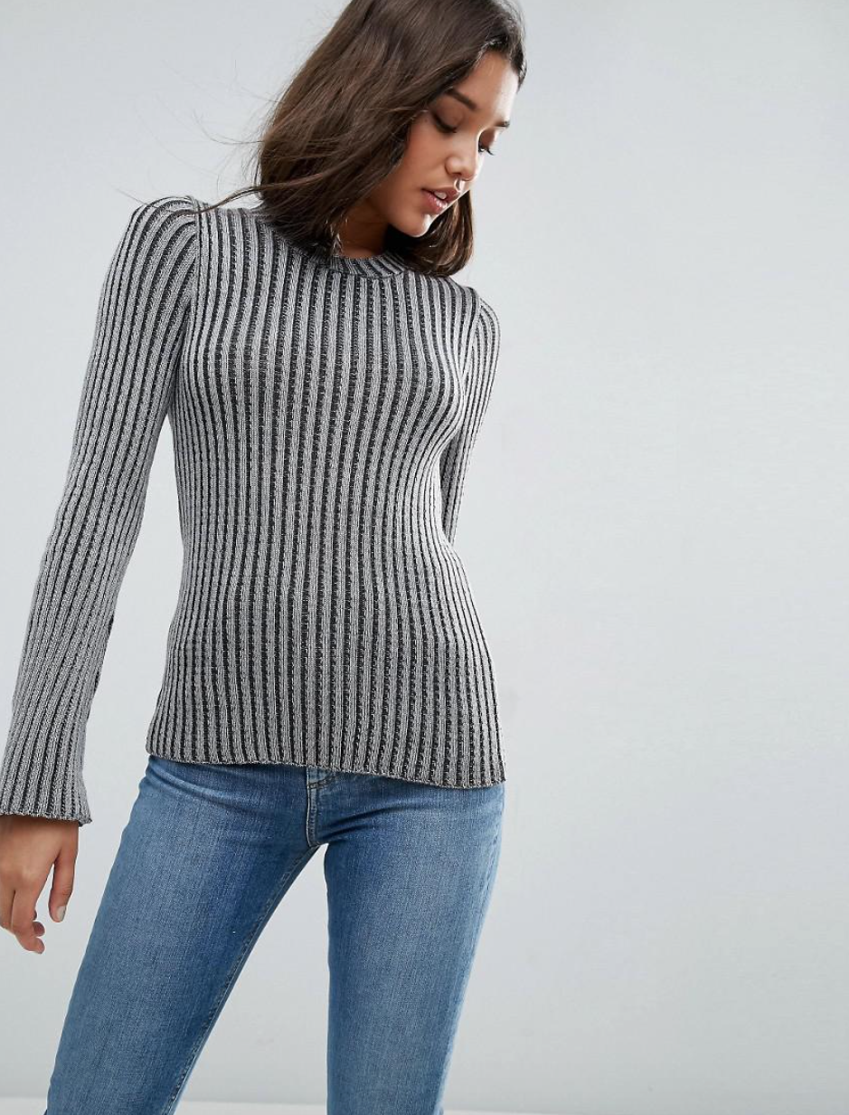 SL1344 Ex Chainstore Grey Ribbed Jumper With Fluted Sleeve