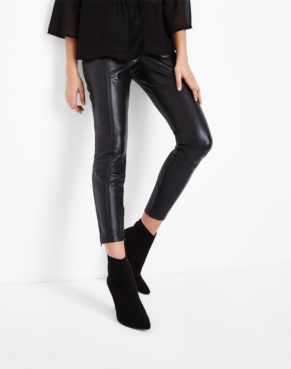 SL1269 Ex Chainstore Seam Front Leather Look Leggings x8