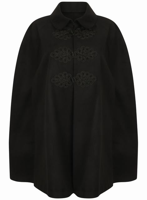 SL1334 Ex Chainstore Lace Embroidered Cape - Black x12