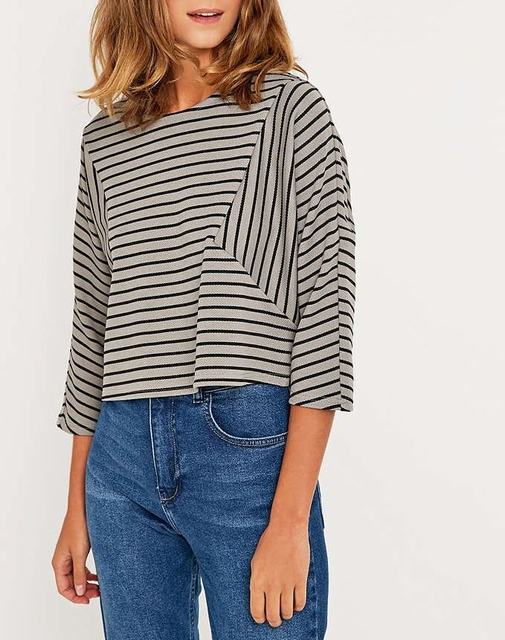 SL617 Ex UK Chainstore Grey Striped Crop Top x8