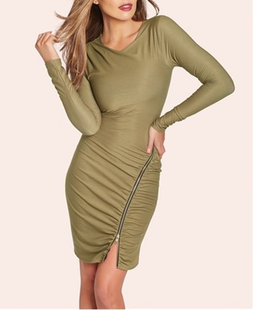 SL838 Ex UK Chainstore Long Sleeve Zip Shift Dress x10