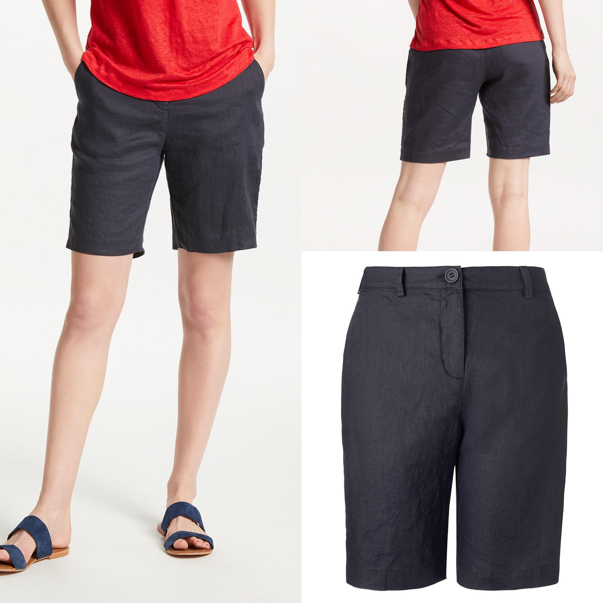 SL1444 Ex Chainstore Navy Pure Linen Pocket Shorts x11