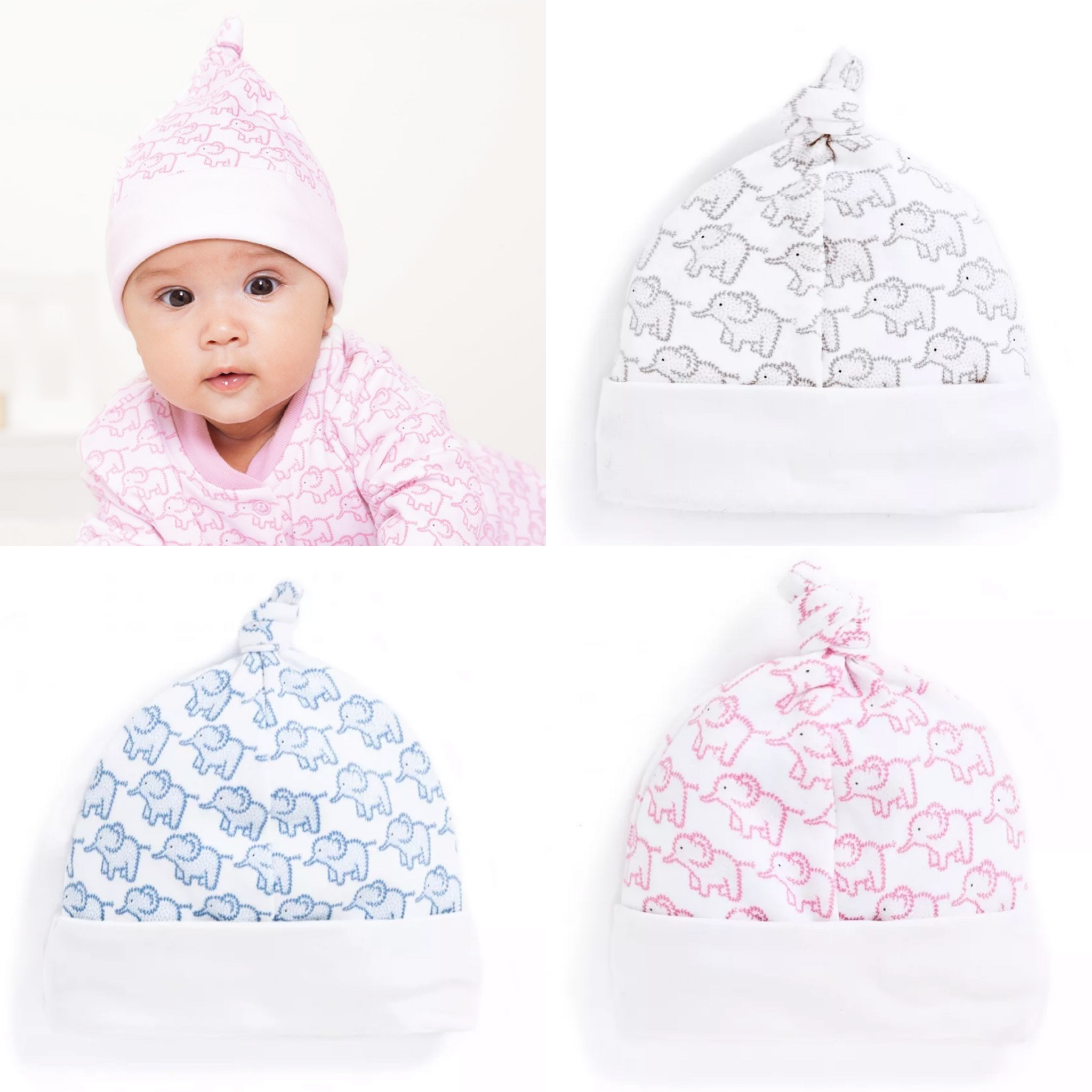 SC268 Ex Chainstore Printed Knotted Top Baby Hat x100