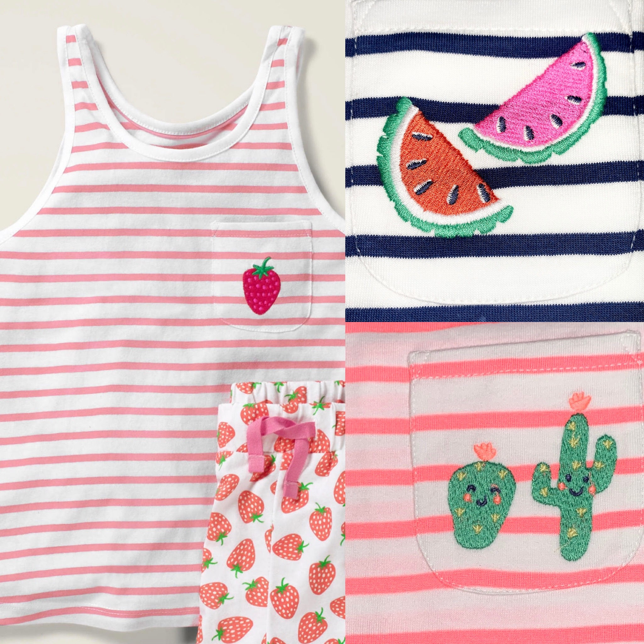 SC525 Ex Chainstore Girls Embroidered Pocket Summer Vest Top x75