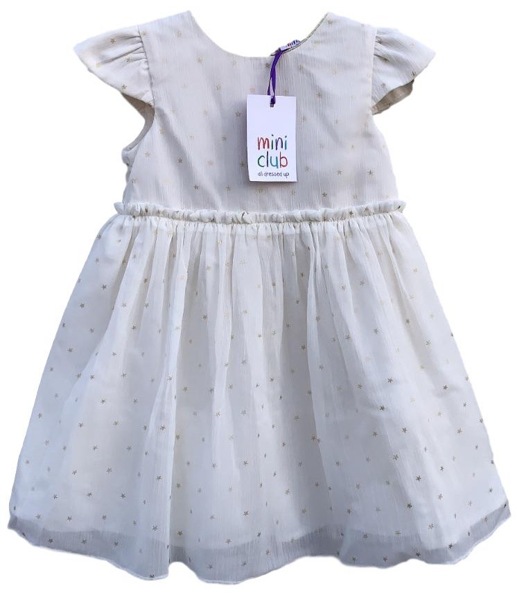 SC458 Ex Chainstore Ivory Gold Star Printed Frill Dress x22