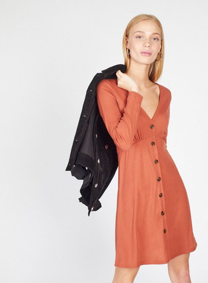 SL1479 Ex Chainstore Rust Button Through Long Sleeve Dress x16