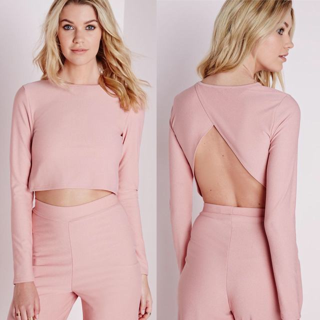 SL1188 Ex Chainstore Long Sleeve Pink Wrap Back Crop x12