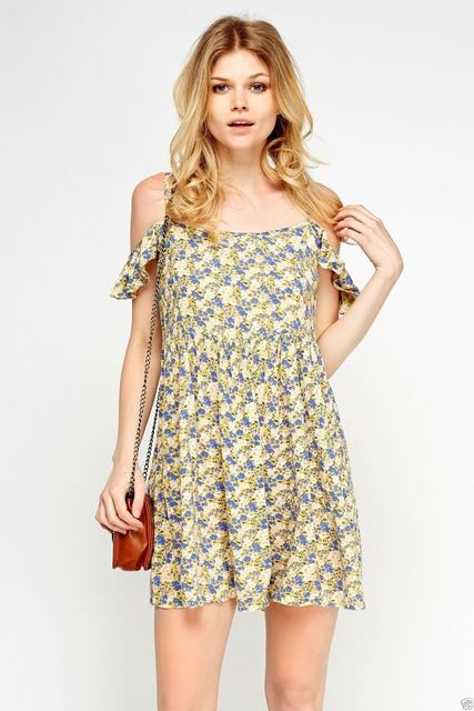 SL1233 Ex Chainstore Cold Shoulder Floral Ditsy Dress x12
