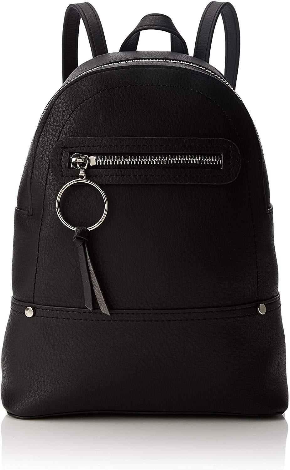 SL1563 ex Chainstore Black Ring Zip Utility Mini Backpack x12
